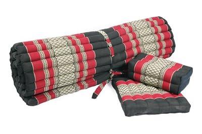 Yoga Set: rollbare Thaimatte 200x100 + Yogakissen + Sitzkissen Thaikissen mit Füllung aus Kapok schwarz-rot