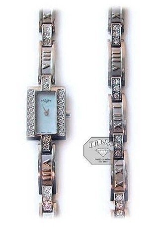 Rotary Ladies Steel Stone-Set Bracelet Set Watch, Waterproof Quartz