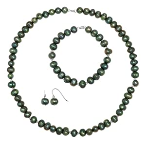 """Sterling Silver Black Pearl Necklace 18"""", Bracelet 7.5"""" and Earrings Set (7-8mm)"""