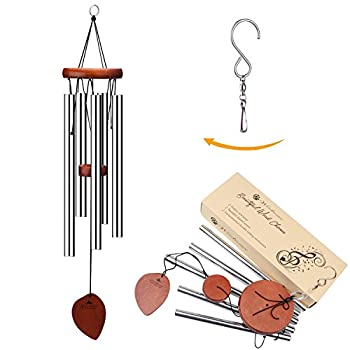 Wind Chimes, 5 Hollow Aluminum Metal Tubes Tuned 24 Music Windchime with S Hook for Indoor and Outdoor
