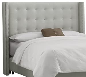 skyline furniture nail button tufted wingback queen headboard in velvet light grey. Black Bedroom Furniture Sets. Home Design Ideas