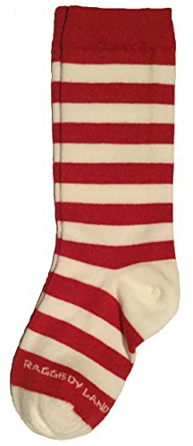 Red & White Stripe Knee High Socks - Toddler, Baby 1T 2T - Raggedy Ann, Rag Doll & Elf Candy Cane (Red And White Stripped Tights)