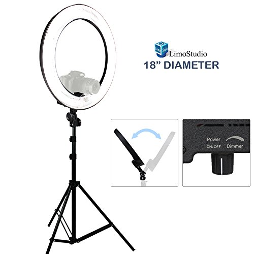 LimoStudio-18-Ring-Light-Dimmable-Fluorescent-Continuous-Lighting-Kit-5500K-Photography-Photo-Studio-Light-Stands-with-Carrying-Case-AGG1774
