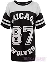 NEW WOMENS AMERICAN JERSEY FOOTBALL TOP 87 CHICAGO WOLVES PRINT VARSITY COLLEGE T SHIRT 8-14