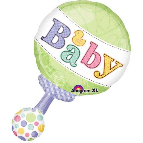 "Green & Polka Dot Pastel Baby Rattle 19"" Mylar Balloon front-1065112"