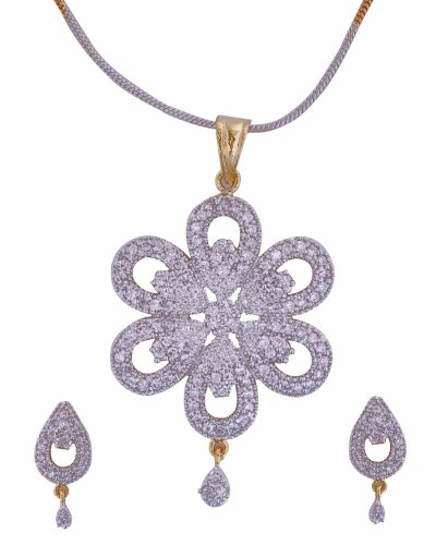 Aditri Aditri Brass Pendant Set For Women White - CZ P 113 (Multicolor)