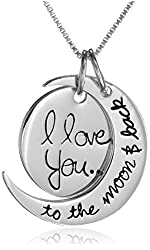 """Silver Plated I Love You to the Moon and Back Necklace 18"""""""