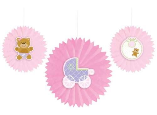 Creative Converting Baby Shower Teddy Baby Pink 3 Count Tissue Fan Decoration