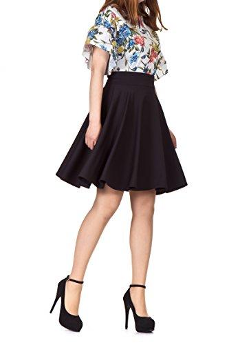 Classic Solid High Waist A-line Full Flared Swing Knee Length Skirt - Black - S (Full Skater Skirt compare prices)
