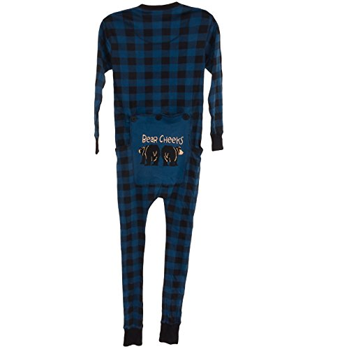 Lazy One Bear Cheeks Flapjacks Pajamas (Blue Plaid, M) (Black Bear Pajamas compare prices)