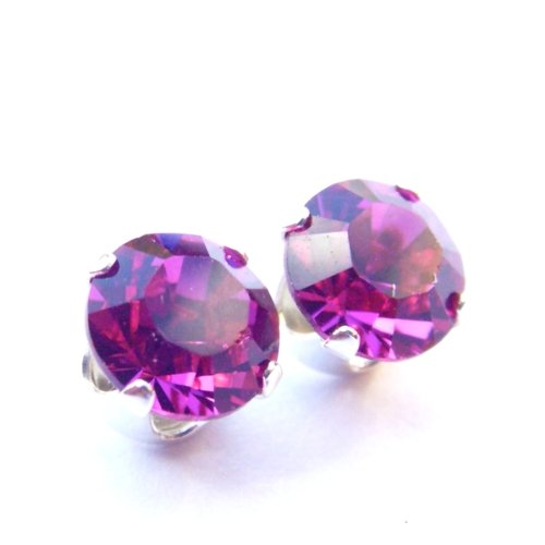 Sparkling 925 Sterling Silver Stud Earrings set with Fuchsia Swarovski Crystal Stones. Gift Box. Made in England. Beautiful jewellery for very special people.