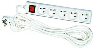 Voltman DIO013035 Bloc 5 prises 2P + T + Interrupteur cordon 1,5 m
