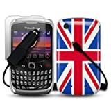 BLACKBERRY CURVE 3G 9300 UNION JACK BACK COVER CASE WITH SCREEN PROTECTOR & CAR CHARGER PART OF THE QUBITS ACCESSORIES RANGEby Qubits