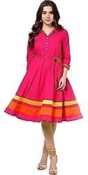 Giriraj Fashion Women's Pink Cotton Kurti, XL Size