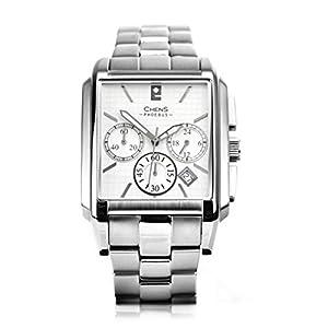 CHENS Phoebus Reloj Rectangular Cronógrafo Cuarzo Para Caballero Correa Plateada De Acero Inoxidable Esfera Blanca Hecho En Suiza