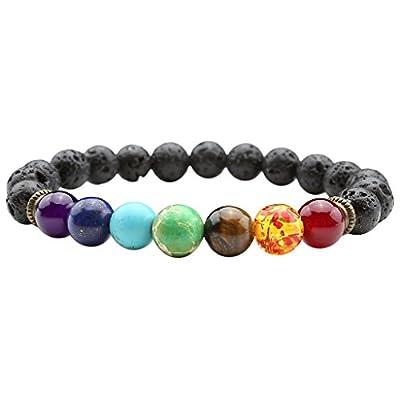 JSDDE Lava Armband, Unisex Zen-Buddhismus Armreif Energietherapie Yoga-Armband 7 Chakra Healing Wurzelchakra Buddha-Armband