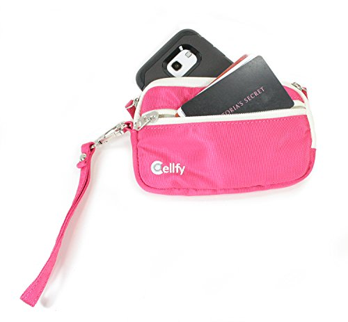 Zip Around Coin Purse, Lipstick Case, or Smartphone Wallet; w/Built in Suction Cup for Hands Free Photos or Video. Smartphone Wristlet easily fits Medium Sized Phones, Like iPhone 6, 5, 5S, Samsung Galaxy 5, 6, HTC One, and many other of similar size.  Take a Better Selfie.