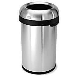 simplehuman Bullet Open Trash Can, Commercial Grade, Heavy Gauge Stainless Steel, 80 L / 21.1 Gal