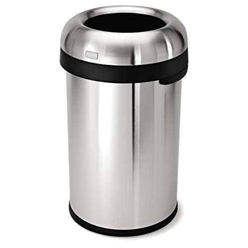 simplehuman Bullet Open Trash Can, Commercial Grade, Heavy Gauge Stainless Steel, 80 L / 21.1 Gal (Simplehuman Trash Can Open compare prices)