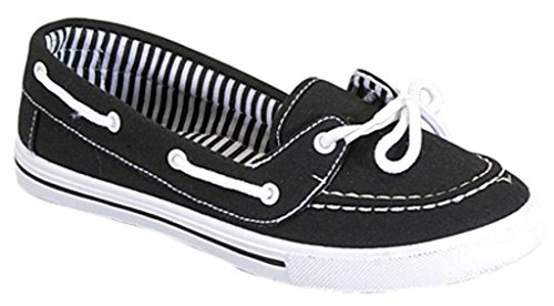 RL Perla 82 Canvas Lace Up Flat Slip On Boat Comfy Round Toe Sneaker Tennis Shoe, Black/White, 7.5