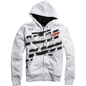 Fox Racing KTM Dividend Sasquatch Fleece Men's Hoody Zip Authentic Sweatshirt/Sweater - White / Large