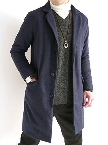 (オークランド) Oakland 起毛 ヘリンボーン チェスターコート 中綿 ロングコート ダウン デザイン 防寒 メンズ ネイビー Lサイズ