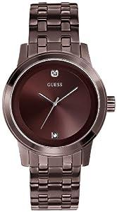 Guess U0103G1 45mm Diamonds Brown Steel Bracelet & Case Mineral Men's Watch