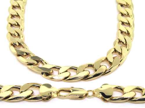Curb Chain Necklace - 24 k Gold Plated - Men's - 13MM WIDE, Large Bling solid chunky