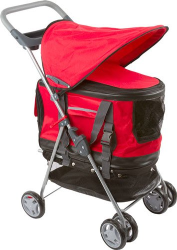 Red Pet Stroller, Carrier And Car Seat All-In-One front-631910