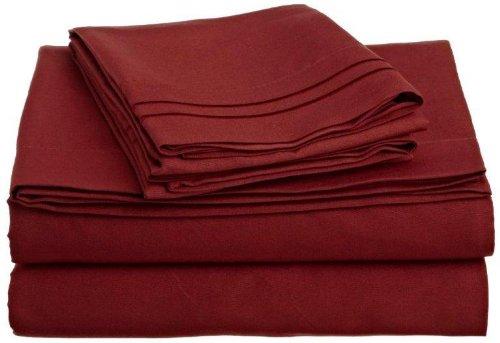 Lamma Loe 4 Pc Bed Sheet Set - Cal King, Burgundy Red,