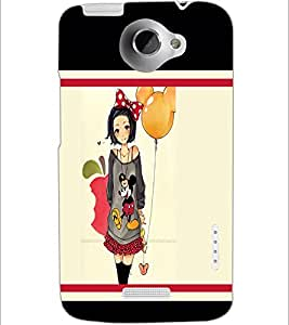 PrintDhaba Girl with Balloon D-1301 Back Case Cover for HTC ONE X (Multi-Coloured)