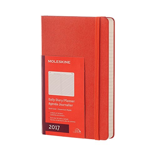 Moleskine 2017 Daily Planner, 12M, Large, Coral Orange, Hard Cover (5 x 8.25)