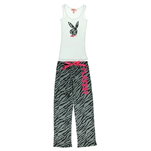 Playboy Womens 2 pcs Lounge Pajamas Pants with Lace Bunny Logo on Tank Top