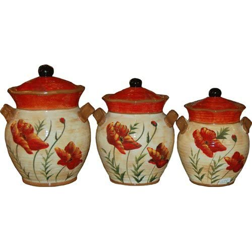 Amazon.com - Poppies Canister Set 3 pc. 52, 72, 90 oz - Kitchen