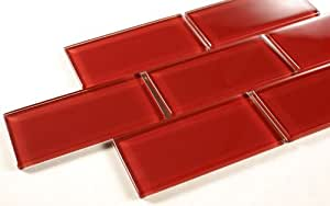 ruby red 3x6 red glass tile mosaic bathroom tile
