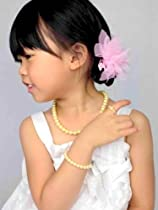 Pretty Princess Pearls - Simply elegant necklace, bracelet & ring gift set (in gift box) for girls & toddler - Yellow