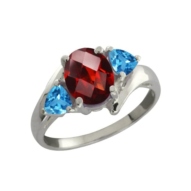 1.96 Ct Checkerboard Red Garnet and Swiss Blue Topaz Sterling Silver Ring