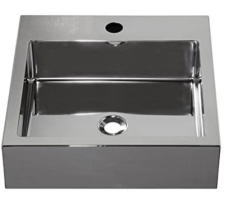 Barclay Products 7-352SB Madison Square Stainless Steel Above Counter Basin with 1-Hole, Brushed Stainless