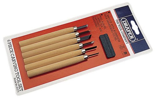Draper 31777 7-Piece Wood Carving Tool Set with Sharpening Stone