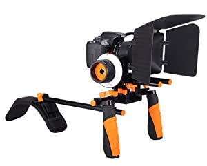 Complete Movie Rig (Orange) with Shoulder Mount and Follow Focus System and a Matte Box Shading Card for Canon EOS Rebel T4i/T3/T3i/T2i/T1i/EOS 1D MARK III/1D MARK IV/1DS MARK II/5D/7D/20D/30D/40D/50D/60D/XS/Xsi/Xti