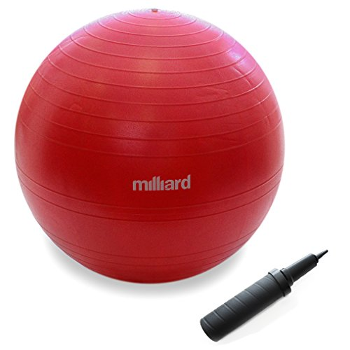 Milliard-Anti-Burst-Fitness-Exercise-Ball-65cm-25-with-Pump-Great-for-Yoga-Pilates-Ab-Workouts-Stability-Training-Core-Strengthening-Gymnastics-and-Birthing-Red