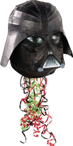 Darth Vader Shaped 10 1/2in x 10 1/2in Pull String Pinata