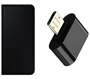 Novo Style Samsung Galaxy Star Advance G350E Premium PU Leather Quality Black Flip Cover+ Little Adapter Micro USB OTG to USB 2.0 Adapter for Smartphones & Tablets