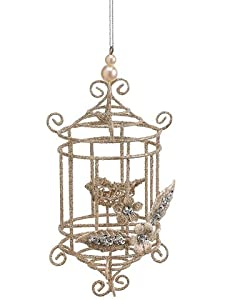 "7"" Seasons of Elegance Gold Glitter Wire Bird Cage with Bird Christmas Ornament"