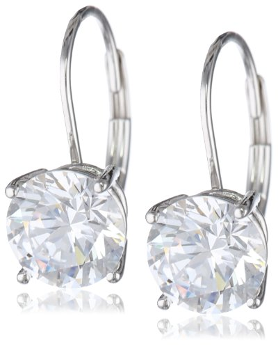 Platinum Plated Sterling Silver Round-Cut Cubic Zirconia Leverback Earrings (3 Cttw)