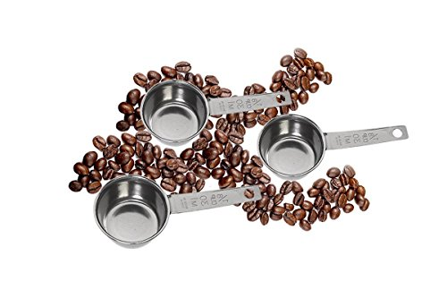 McKay Precision 1/8 Cup Coffee Measuring Scoop- Stainless Steel: Ultimate Spoon for Pouring Ground Tea, Cocoa, Sugar, Salt, Herbs Spices or any Bulk- (3 Pack) (1 2 Cup Measurer compare prices)
