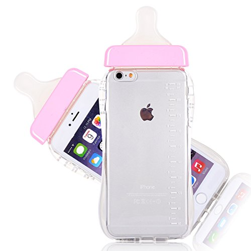 6S Case, CHIBI Cute Baby Pacifier Milk Feeding Bottle Shape Soft TPU Clear Case Back Cover for iPhone 6/6s 4.7inch (Pink)