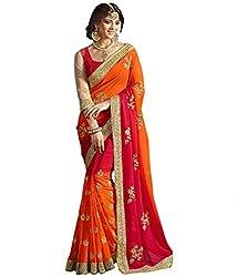 Designer saree with embroidered work by Om Shantam Sarees