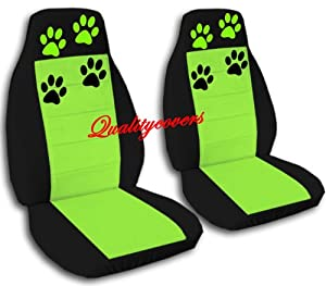 Amazon 2 Black And Lime Green Car Seat Covers With