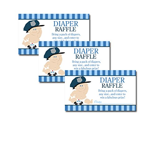 Baby Cop Police Officer Baby Shower Diaper Raffle Tickets 20-pack